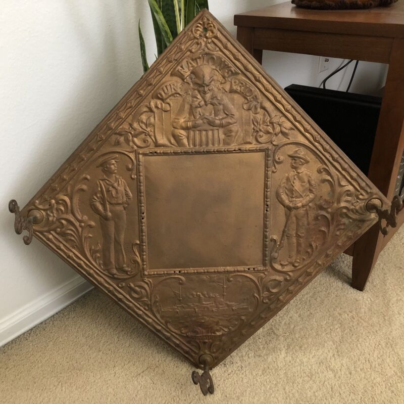 Antique USS Olympia Commerative Tin Wall Art - VERY RARE!!!     MUST LOOK!