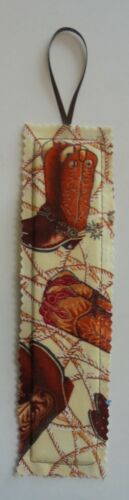 "Bookmark Fabric Book Mark 2"" x 8"" Bookmark Boots Western Cowboy Cowgirl Boots"