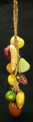 "Hanging Ristra Glazed Ceramic Fruit Vibrant Rope Wall Kitchen Decor 24"""