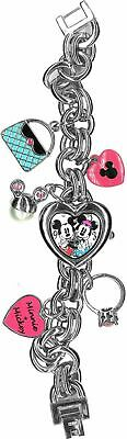 Disney Mickey And Minnie Mouse Women Stainless Steel Charm Bracelet Watch MN2054