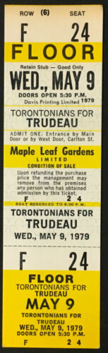 1979 Pierre Elliott Trudeau Prime Minister Rally Ticket Maple Leaf Gardens