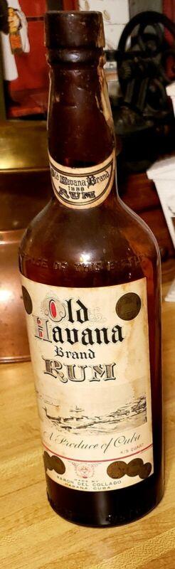 RARE Empty Vintage Old Havana Brand Rum Bottle