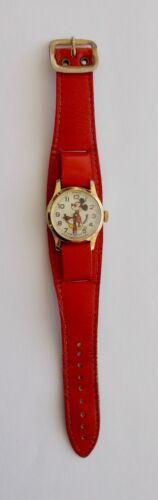 Vintage Disney Mickey Mouse Wrist Watch w/ Wide Red Leather Band~~Swiss Made