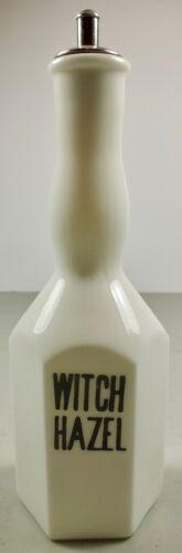 Antique Milk Glass Witch Hazel Barber Bottle W Stopper Pat 1914 IM MFG Co EW INC