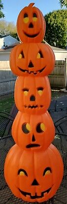 1994 Vintage Don Featherstone Halloween Blow Mold 5 Tier Stacked Pumpkin Totem