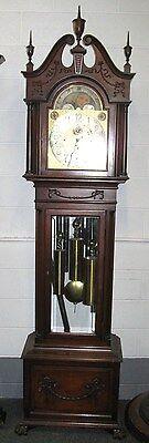 CARVED MAHOGANY ELLIOTT 9 TUBE GRANDFATHER CLOCK