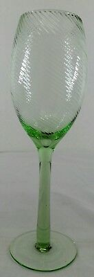 Rare Vintage Depression Swirl Green Stem Champiage Flute Wine Glass stemmed 8