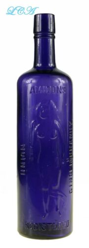 Intense PURPLE antique AMIDON Ginger BRANDY bottle w/ bare breasted Lady Godiva