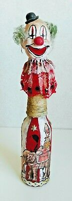 Clown Circus ALTERED ART BOTTLE ART DOLL FOLK ART OUTSIDER ART