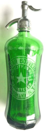 ANTIQUE RED STAR BOTTLING CO. BROOKLYN NY FANCY THICK GREEN GLASS SELTZER BOTTLE