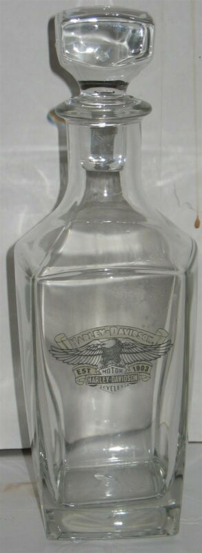 Vtg Harley-Davidson Motorcycles Glass Crystal Liquor Whiskey Decanter w/Stopper