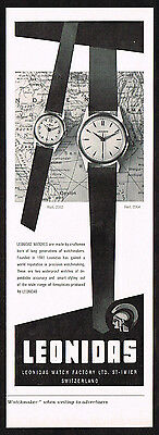 1950's Vintage 1957 Leonidas Watch Co Watches - Paper Print AD