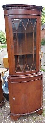 Vintage Mahogany Veneer Corner Display Cabinet .Unit Is 180cm High and 65cm Wide