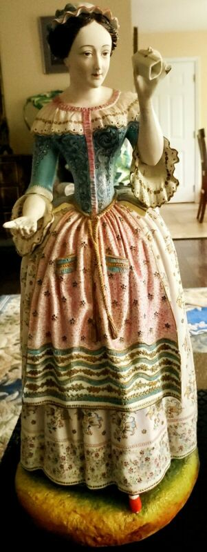 "ANTIQUE GERMAN SIGNED AG VERY LARGE 17"" PORCELAIN WOMAN FIGURINE"