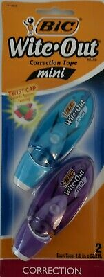 Bic Wite-out Mini Correction Tape Twist Cap Item 51382 2 Pack Blue Purple