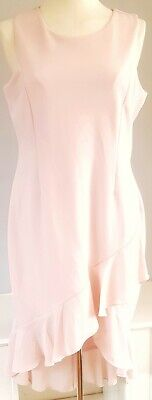 Ivanka Trump Women's Dress Pink Size UK 16 Frill Sleeveless Zip Back Formal VGC