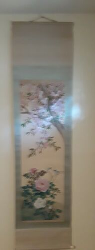 Vintage Chinese Silk Painting Scroll Flowers and Birds - Signed