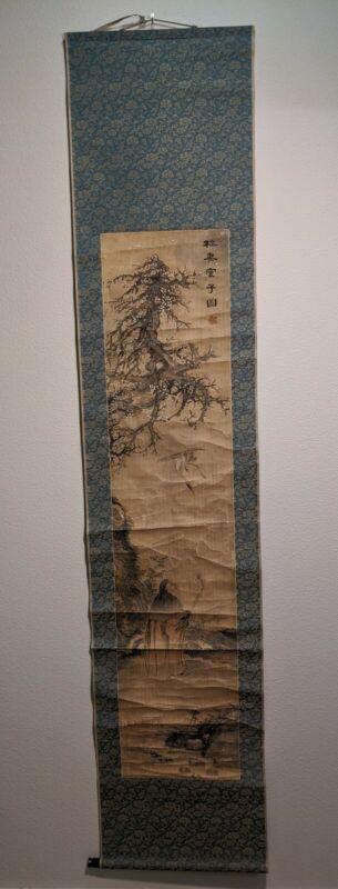 Japanese Hanging Scroll Vtg Kakejiku Kakemono Old man and Crane A13