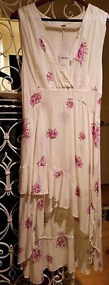 FREE PEOPLE TIERED FLOWING RUFFLED MAXI DRESS NWT FOR PET CHARITY SIZE 12 $108