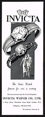 1950's Vintage 1957 Invicta Watch Co. Watches - Paper Print AD