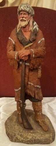 Daniel Monfort Vintage Original Western Sculpture Statue Mountain Frontiers Man