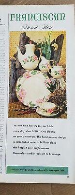 1953 Franciscan desert rose pattern China plate cream sugar teapot ad