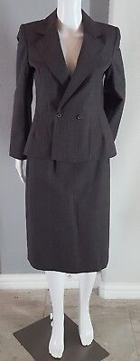Women's 100% Wool Brown Striped Double Breasted 2 Piece Career Skirt Suit Size (2 Piece Suits For Women)