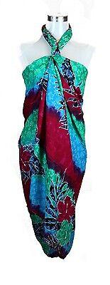 Jumbo Plus Size Tropical Cruise Beach Luau Sarong Wrap Dress Pareo Red Blu - Plus Size Luau Dress