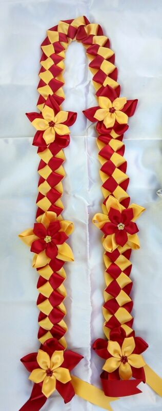 Graduation lei, handmade with 2 color of satin ribbons in red and gold