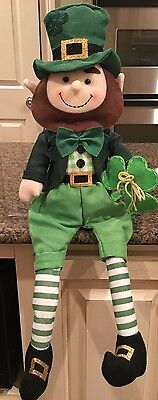 St. Patrick's Day Leprechaun Sitting Doll Holding 3 Leaf Clover Decor NEW