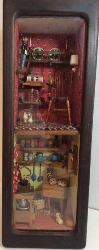 Shadowbox With Antique Vintage Theme Miniatures (z)