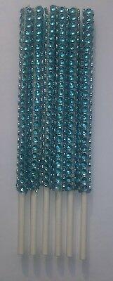 12 Turquoise Blue Bling Cake Pop Sticks Lollipop Sticks 6