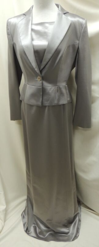Giorgio Armani Silver Wool and Silk 2 Piece Belted Evening Dress with Jacket 6 M