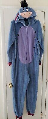 Adult Disney Eeyore Full Fleece Pajamas One Piece Union Suit COSTUME Size L/XL
