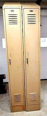 Pair Berger Used Slant Top Metal School Lockers 12x18x86 Republic Of Steel Co