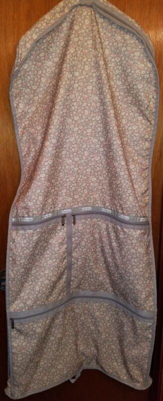 Le Sportsac Gray Floral Pattern Nylon Garment Bag Suit Hang-UpTravel Luggage