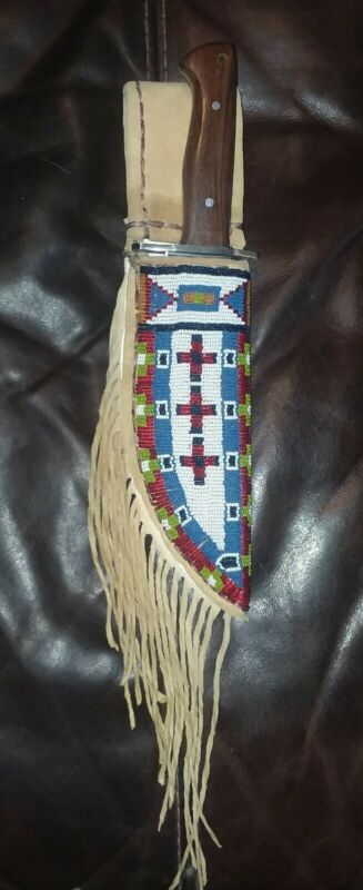 Native American Style Brain Tanned Leather Beaded Knife Case / with knife shown