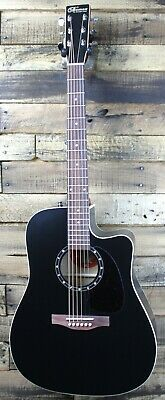 Norman Pretege B18 Cutaway Cedar Acoustic Electric Guitar, Black - Crack  #R3804