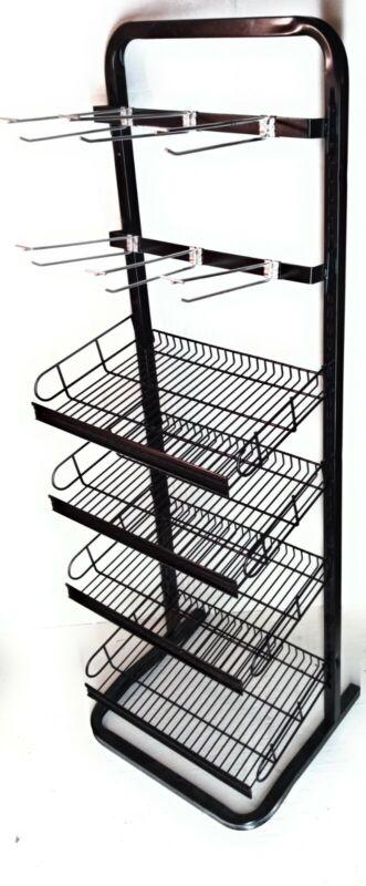 Store display rack. 4 adjustable shelf tiers and 2 peg tiers 52x18x12