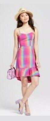 A New Day Dress Sleeveless Spaghetti Straps A-Line SMALL  Pink Plaid  - Pink Plaid Dress