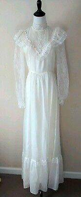 Gunne Sax by Jessica Vintage Prairie Dress Ivory Lace Boho Wedding