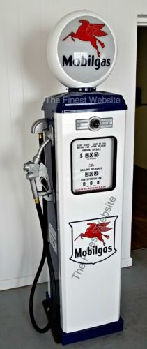 NEW MOBIL MOBILGAS REPRODUCTION ANTIQUE REPLICA GAS PUMP  WHITE & BLUE FREE SHIP