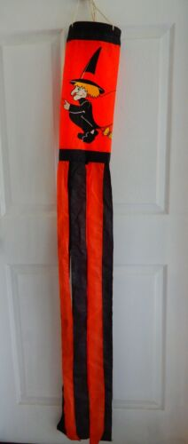 Halloween wind sock witch on broom flag hanging decoration red & black