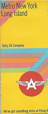 1968 Getty Oil Flying A  Road Map Long Island Metropolitan New  York City Bronx