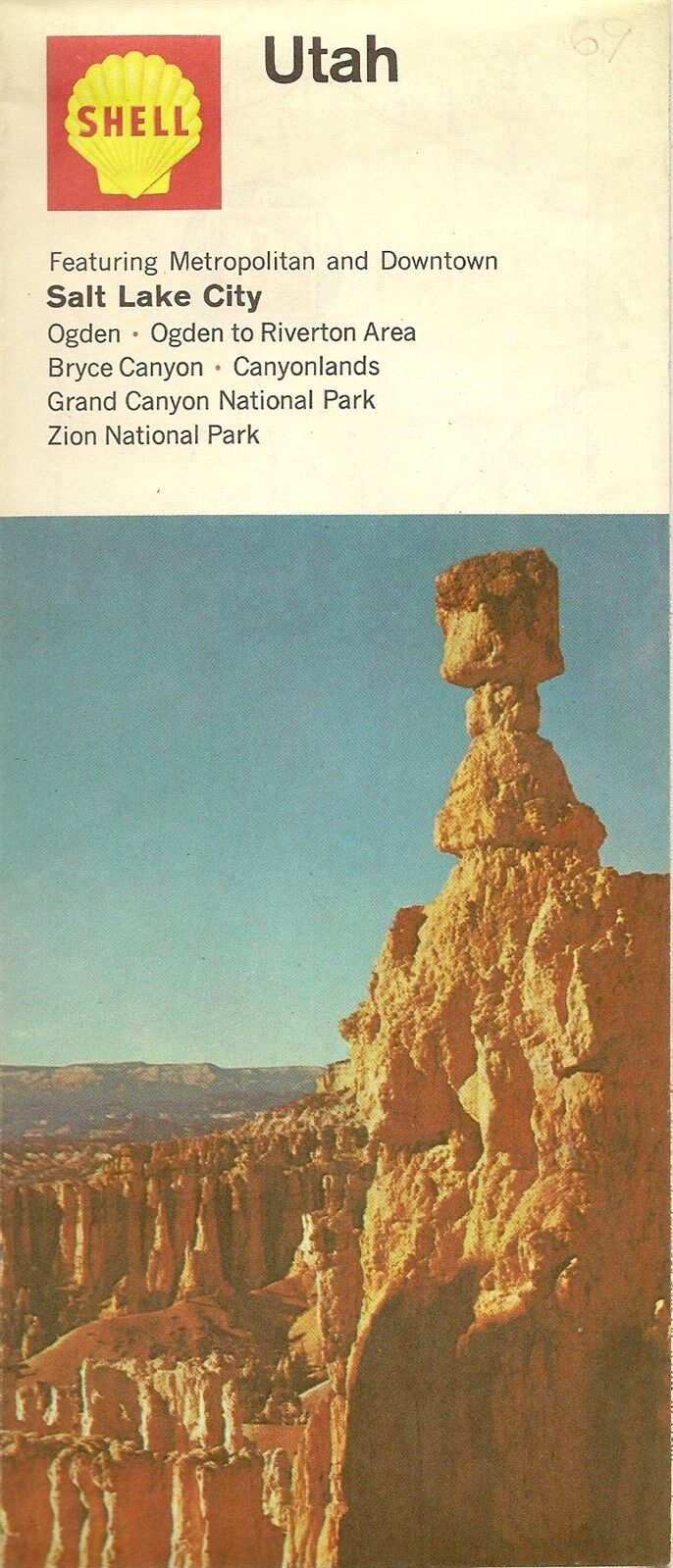 1969 shell oil co thor 39 s hammer road map utah bryce canyon