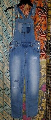 Girls Cherokee Jean Denim Stretch Overalls with distressing & Patches size L EUC