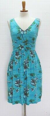 FRESH PRODUCE Blue Green Hibiscus Flamingo Sleeveless Summer Dress S