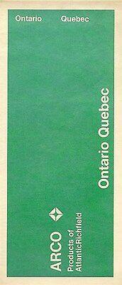 1971 ARCO Atlantic Richfield Road Map ONTARIO QUEBEC Canada Windsor Senneterre