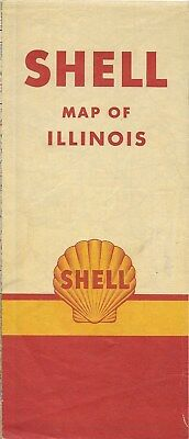 1949 Shell Oil Co Road Map Illinois Route 66 Springfield Peoria Rockford Chicago