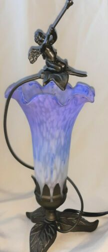 "Trumpeting Fairy Cherub Lavender Glass Floral Shade Metal Base Table Lamp 12"" Hi"